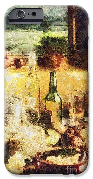 Table Wine iPhone Cases - Cuisine iPhone Case by Mo T