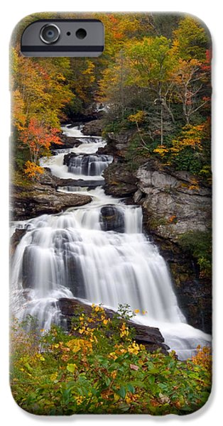 Franklin iPhone Cases - Cullasaja Falls - WNC Waterfall in Autumn iPhone Case by Dave Allen