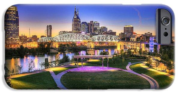 Nashville Skyline iPhone Cases - Cumberland Park and Nashville Skyline iPhone Case by Lucas Foley