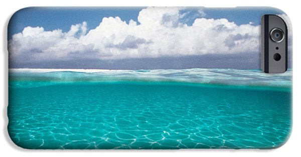 Absence iPhone Cases - Cumulus Clouds Over Sea, Aqua iPhone Case by Panoramic Images