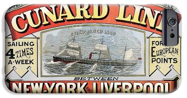 Business Drawings iPhone Cases - Cunard Line New York-Liverpool 1875 iPhone Case by Mountain Dreams