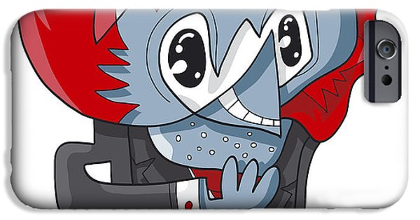 Man iPhone Cases - Cunning Businessman Doodle Character iPhone Case by Frank Ramspott