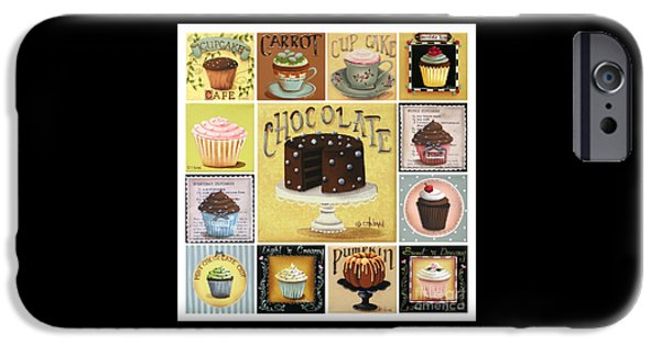 Folk Art iPhone Cases - Cupcake Mosaic iPhone Case by Catherine Holman
