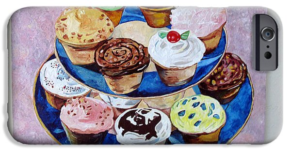 Cookbook Paintings iPhone Cases - Cupcakes iPhone Case by Marianne Clancy