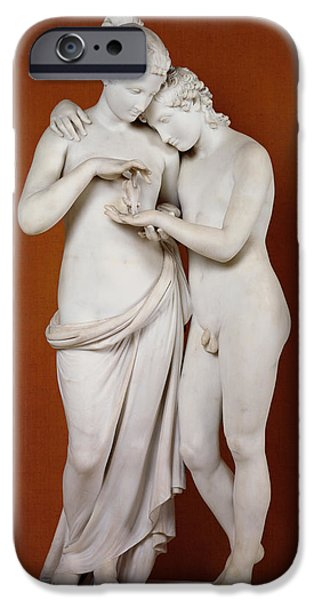 Nudes Photographs iPhone Cases - Cupid and Psyche iPhone Case by Antonio Canova