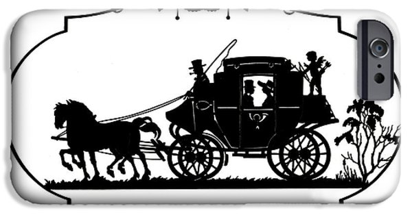 Horse And Buggy iPhone Cases - Cupid Hitches A Ride, 19th Century iPhone Case by Science Source