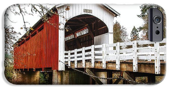 Covered Bridge iPhone Cases - Curin Bridge iPhone Case by James Heckt