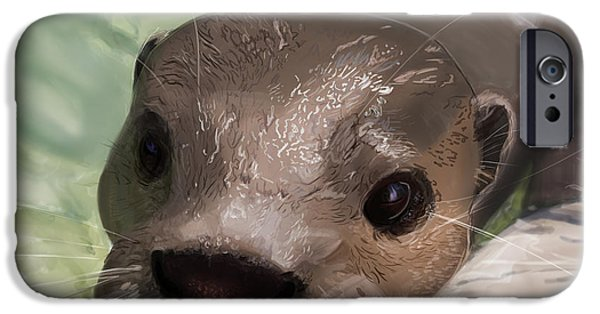 Otter Digital Art iPhone Cases - Curiosity iPhone Case by Bob Lucas