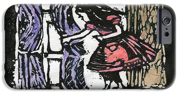Alice In Wonderland Reliefs iPhone Cases - Curious Alice iPhone Case by Barbara M Wilson