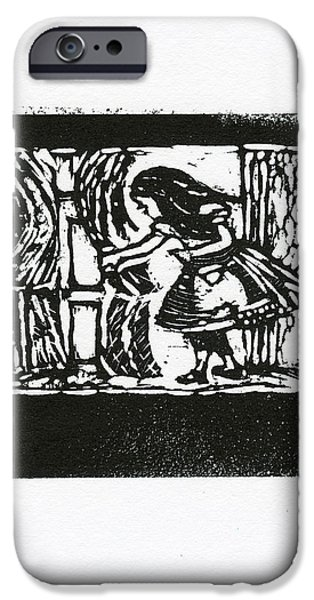 Alice In Wonderland Mixed Media iPhone Cases - Curious  iPhone Case by Barbara M Wilson