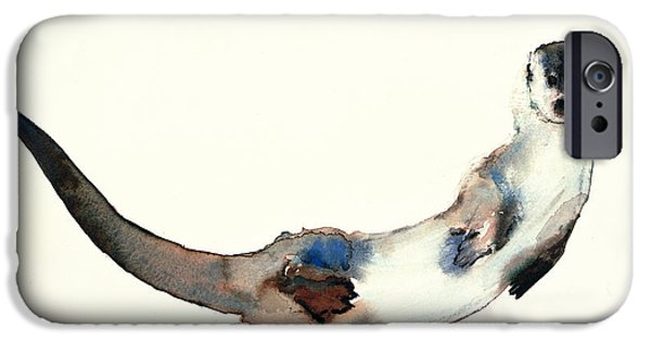 Creatures Paintings iPhone Cases - Curious Otter iPhone Case by Mark Adlington