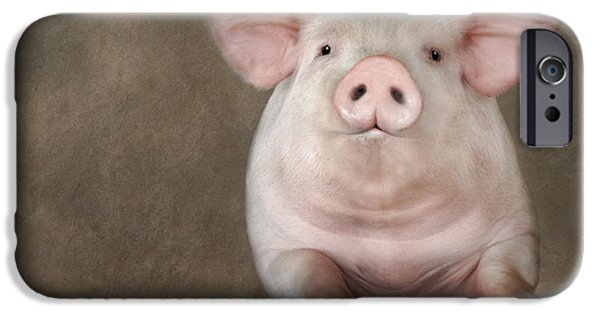 Pig Digital iPhone Cases - Curious Pig iPhone Case by Lori Deiter