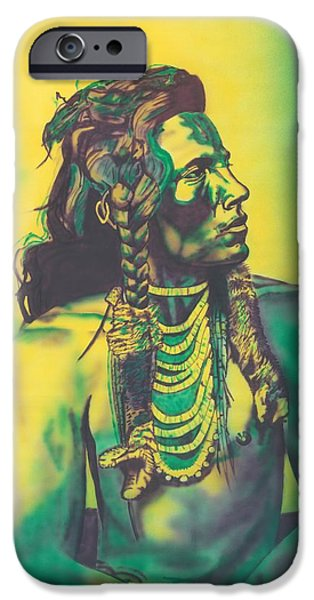 Airbrush Drawings iPhone Cases - Curley iPhone Case by Louis Garding