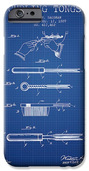 Decor iPhone Cases - Curling Tongs patent from 1889 - Blueprint iPhone Case by Aged Pixel
