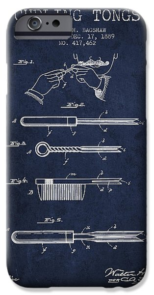 Blueprint iPhone Cases - Curling Tongs patent from 1889 - Navy Blue iPhone Case by Aged Pixel