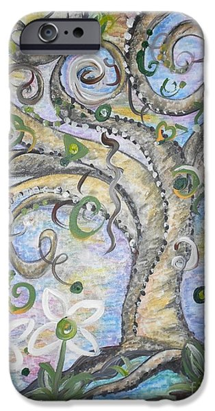Curly Tree in Fantasy Land iPhone Case by Eloise Schneider