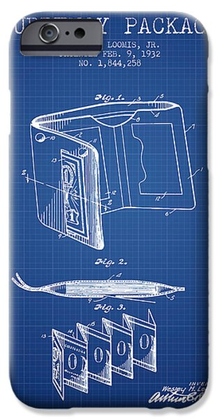 Currency iPhone Cases - Currency Package Patent from 1932 - Blueprint iPhone Case by Aged Pixel