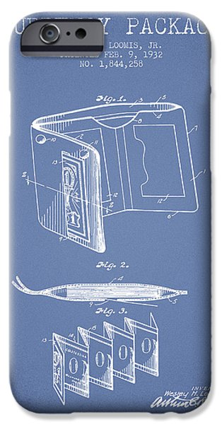 Currency iPhone Cases - Currency Package Patent from 1932 - Light Blue iPhone Case by Aged Pixel