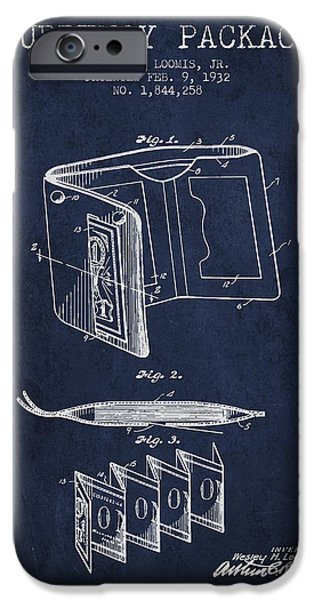 Currency iPhone Cases - Currency Package Patent from 1932 - Navy Blue iPhone Case by Aged Pixel