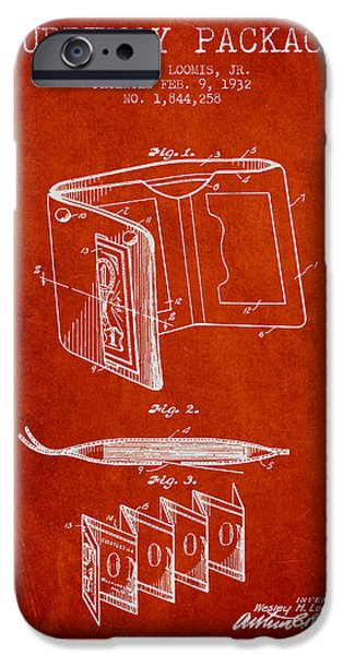 Currency iPhone Cases - Currency Package Patent from 1932 - Red iPhone Case by Aged Pixel