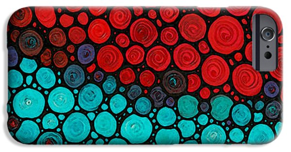 Mosaic Mixed Media iPhone Cases - Currents - Red Aqua Art by Sharon Cummings iPhone Case by Sharon Cummings