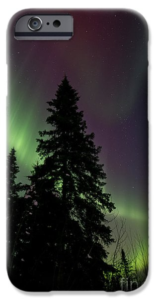 Northern Lights iPhone Cases - Curtain of colours iPhone Case by Priska Wettstein