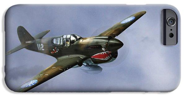 Warhawk iPhone Cases - Curtiss P-40 Warhawk iPhone Case by Diane Diederich