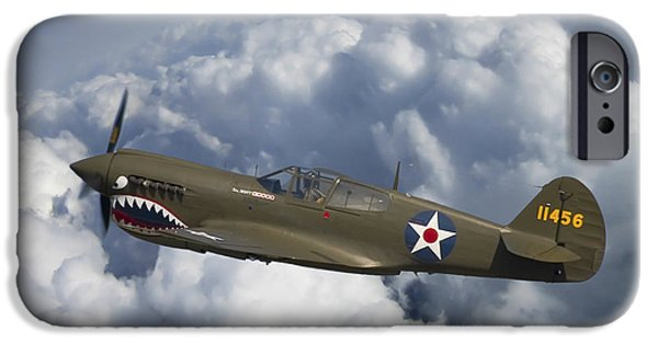 Curtiss iPhone Cases - Curtiss P-40 Warhawk Flying Tigers iPhone Case by Adam Romanowicz