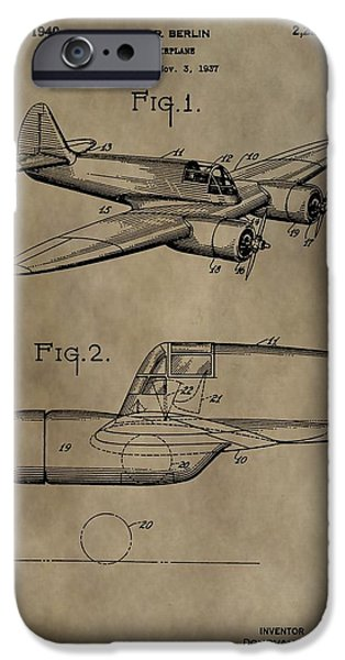 Curtiss iPhone Cases - Curtiss-Wright Airplane Patent iPhone Case by Dan Sproul
