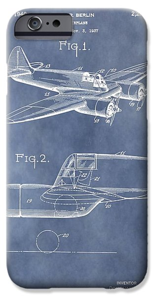 Curtiss iPhone Cases - Curtiss-Wright CW-25 Patent iPhone Case by Dan Sproul