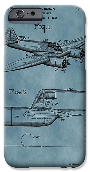 Curtiss iPhone Cases - Curtiss-Wright Patent Blue iPhone Case by Dan Sproul