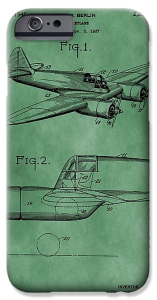 Curtiss iPhone Cases - Curtiss-Wright Patent Green iPhone Case by Dan Sproul
