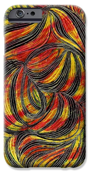 Business Drawings iPhone Cases - Curved Lines 2 iPhone Case by Sarah Loft