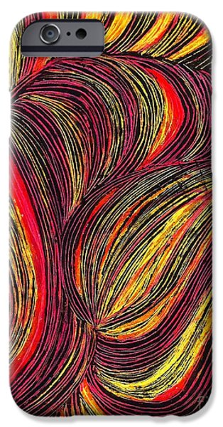 Business Drawings iPhone Cases - Curved Lines 3 iPhone Case by Sarah Loft
