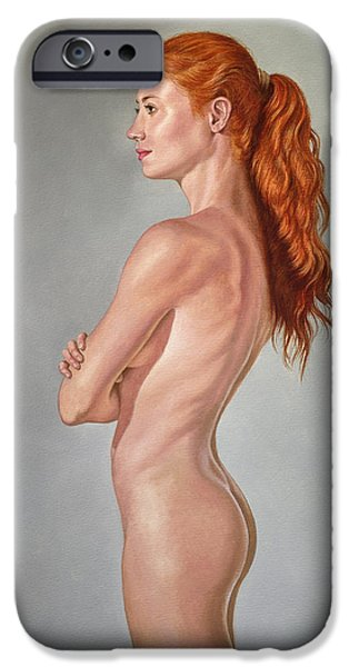 Figures Paintings iPhone Cases - Curves iPhone Case by Paul Krapf