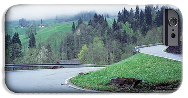 Mountain Road iPhone Cases - Curving Road Switzerland iPhone Case by Panoramic Images