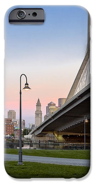Charles River iPhone Cases - Custom House And Zakim Bridge iPhone Case by Susan Candelario