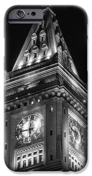Custom House Tower iPhone Cases - Custom House in Boston Black and White iPhone Case by John McGraw