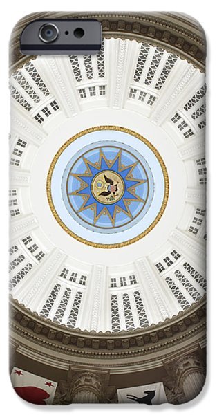 Great Seal Of The United States iPhone Cases - Custom House Tower Ceiling Boston iPhone Case by Norman Pogson