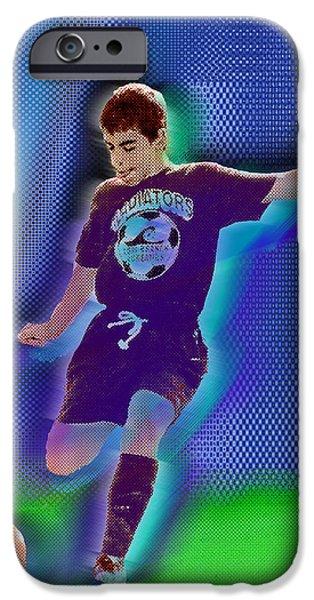 Kids Sports Art iPhone Cases - Custom Portrait Family Child Sports Soccer iPhone Case by Tony Rubino