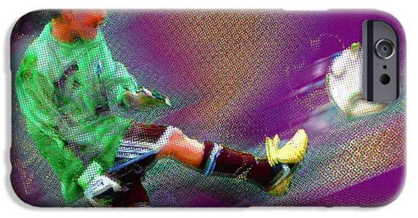 Kids Sports Art iPhone Cases - Custom Sport Portrait Family 3 Boy 2 iPhone Case by Tony Rubino