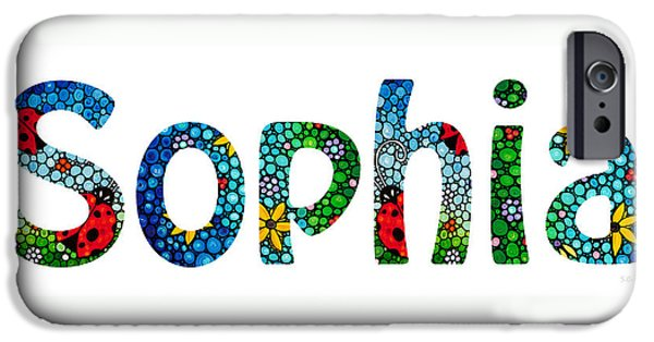 Customized iPhone Cases - Customized Baby Kids Adults Pets Names - Sophia Name iPhone Case by Sharon Cummings