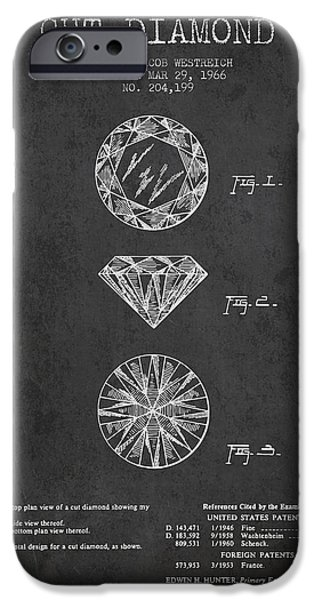 Crystal iPhone Cases - Cut Diamond Patent From 1966 - Dark iPhone Case by Aged Pixel