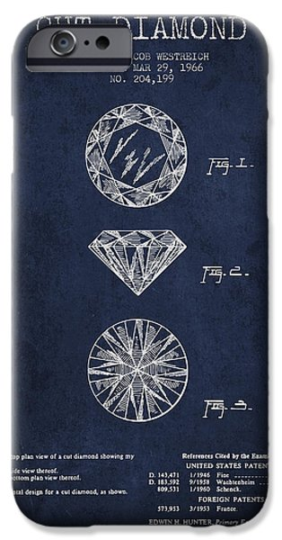 Mining iPhone Cases - Cut Diamond Patent From 1966 - Navy Blue iPhone Case by Aged Pixel