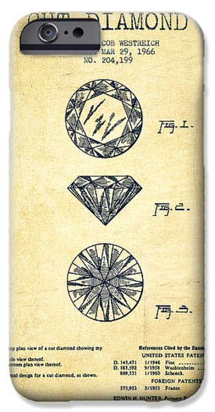 Mining iPhone Cases - Cut Diamond Patent From 1966 - Vintage iPhone Case by Aged Pixel