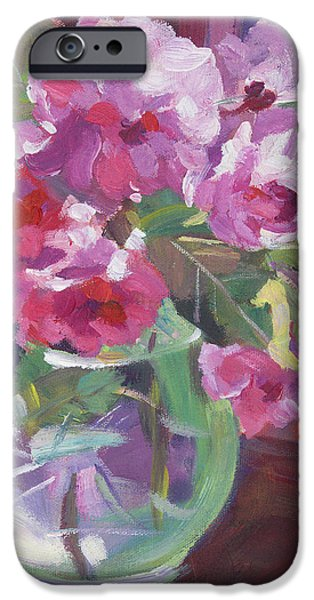 Still Life iPhone Cases - Cut Flowers in Glass iPhone Case by David Lloyd Glover