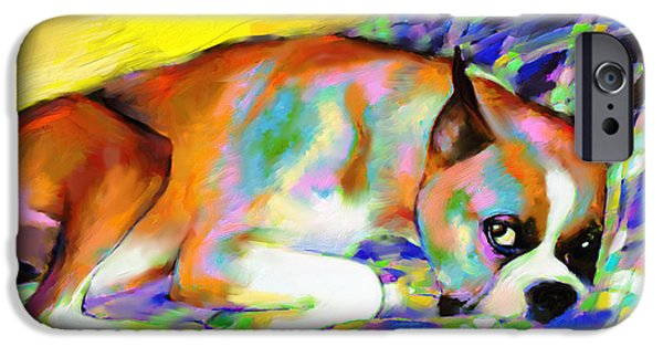 Boxer Dog iPhone Cases - Cute Boxer Dog portrait painting iPhone Case by Svetlana Novikova