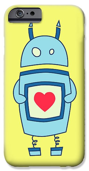 With Love iPhone Cases - Cute Clumsy Robot With Heart iPhone Case by Boriana Giormova