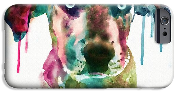 Canis Lupus Mixed Media iPhone Cases - Cute Doggy iPhone Case by Marian Voicu