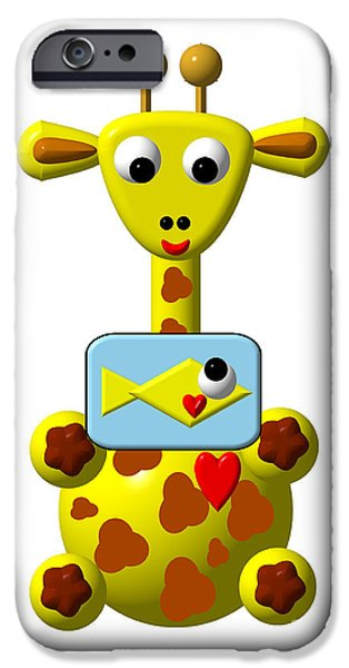 Artists4god iPhone Cases - Cute Giraffe with Goldfish iPhone Case by Rose Santuci-Sofranko